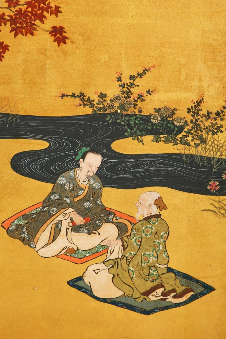 Pair of Japanese Edo Six Panel Screens the Seven Sages For Sale 2