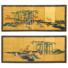 Pair of Japanese Edo Six Panel Screens the Seven Sages