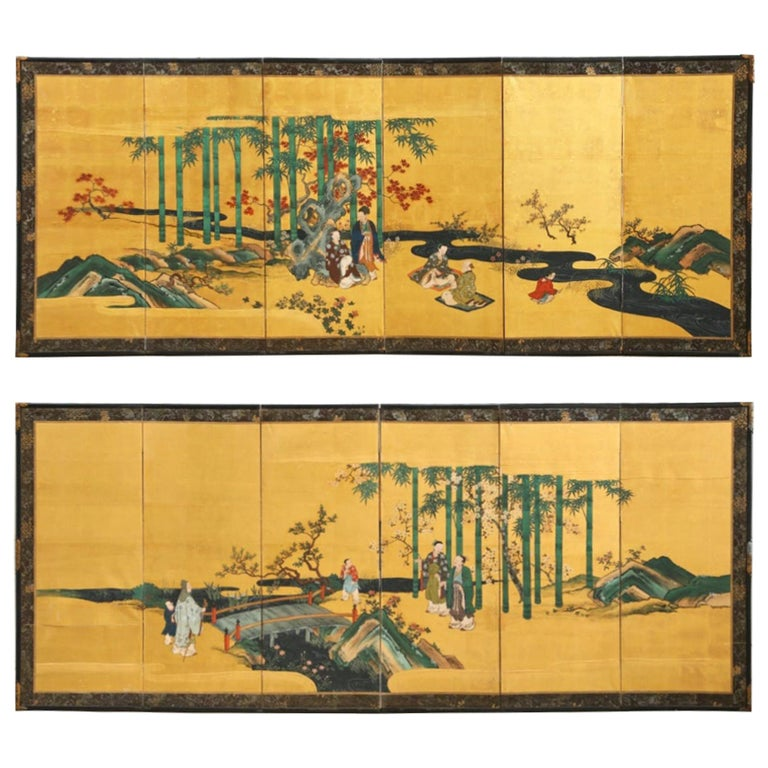 Pair of Japanese Edo Six Panel Screens the Seven Sages For Sale