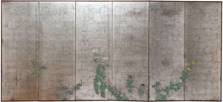 Painted Pair of Japanese Folding Screens, Rinpa School, 19th Century For Sale