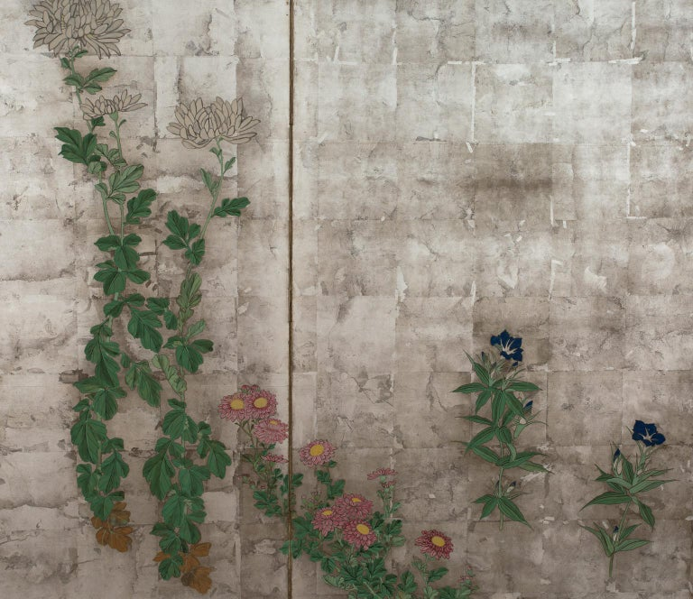 Pair of Japanese Folding Screens, Rinpa School, 19th Century For Sale 3