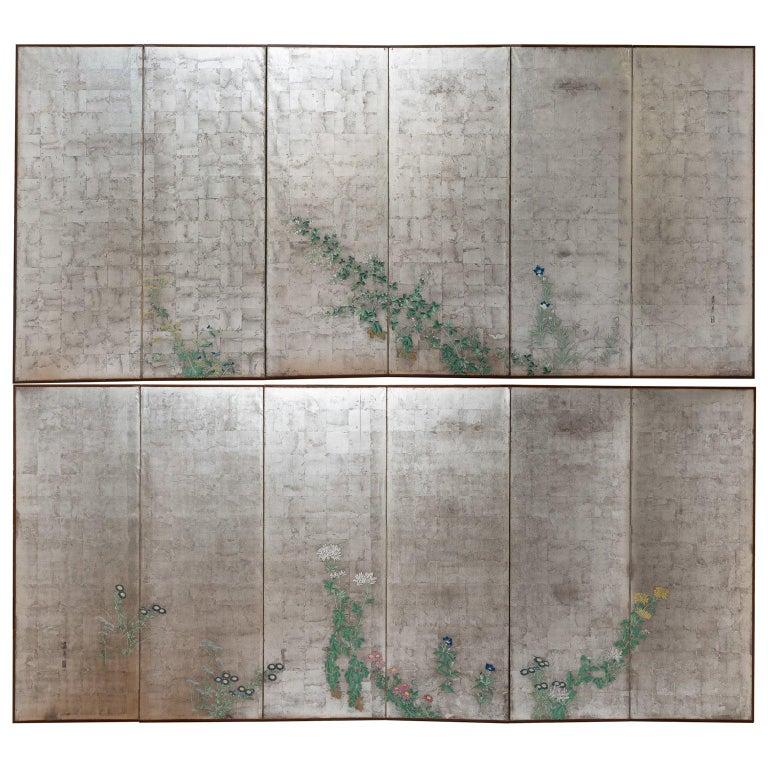 Pair of Japanese Folding Screens, Rinpa School, 19th Century For Sale