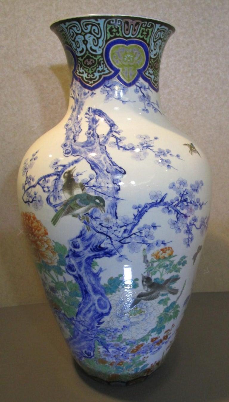 Pair of Japanese Fukagawa Koransha Blue Porcelain Vases, circa 1880 For Sale 3