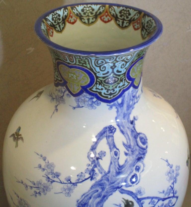 Pair of Japanese Fukagawa Koransha Blue Porcelain Vases, circa 1880 For Sale 4