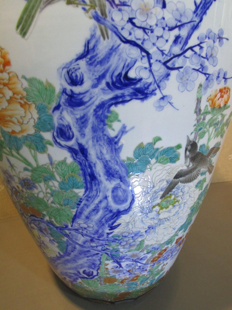 Meiji Pair of Japanese Fukagawa Koransha Blue Porcelain Vases, circa 1880 For Sale