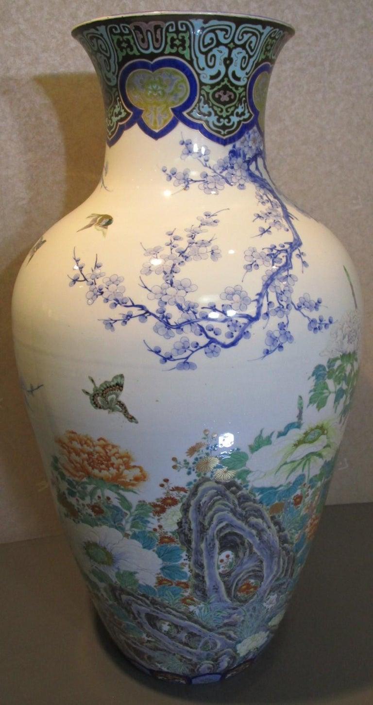 Gilt Pair of Japanese Fukagawa Koransha Blue Porcelain Vases, circa 1880 For Sale