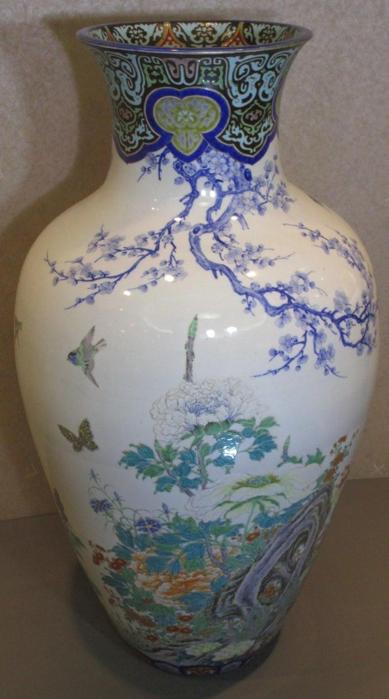 19th Century Pair of Japanese Fukagawa Koransha Blue Porcelain Vases, circa 1880 For Sale