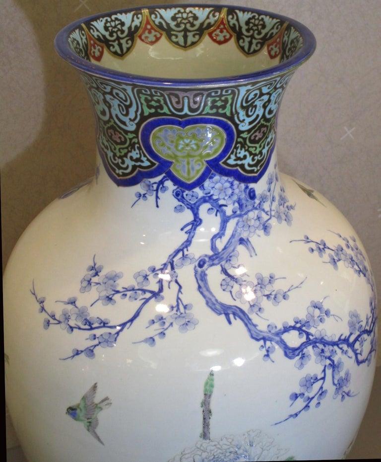 Gold Pair of Japanese Fukagawa Koransha Blue Porcelain Vases, circa 1880 For Sale