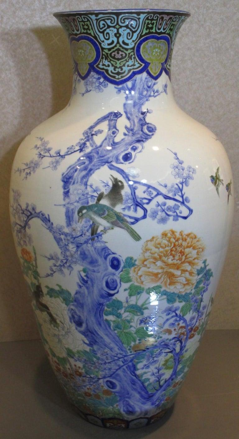 Pair of Japanese Fukagawa Koransha Blue Porcelain Vases, circa 1880 For Sale 2