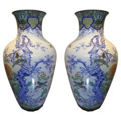Pair of Japanese Fukagawa Koransha Blue Porcelain Vases, circa 1880