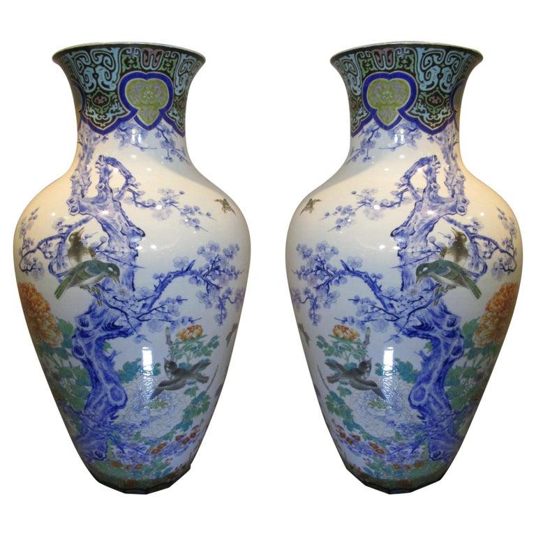 Pair of Japanese Fukagawa Koransha Blue Porcelain Vases, circa 1880 For Sale