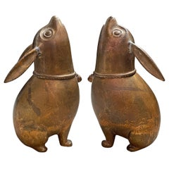 Pair of Japanese Gilt Bronze Meiji Period Rabbit Koro 'Incense Burners'