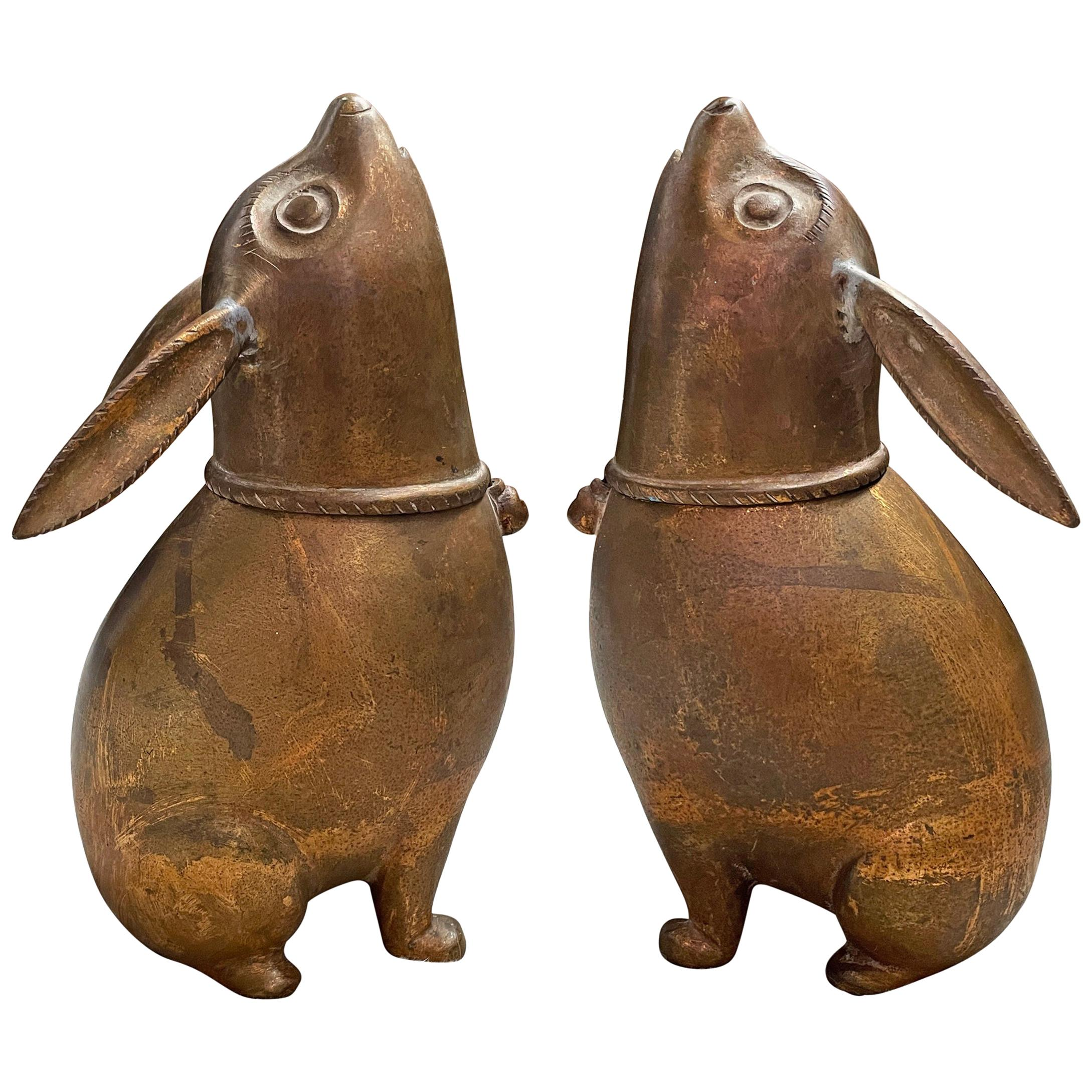 Pair of Japanese Gilt Bronze Rabbit Koro 'Incense Burners'