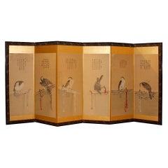 Pair of Japanese Gold Hawk Screens