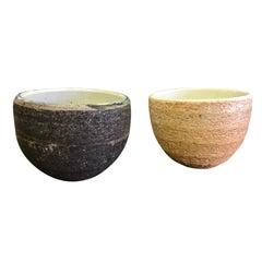 Pair of Japanese Handmade Ceramic Pottery Textured Tea Ceremony Cups
