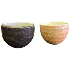 Pair of Japanese Handmade Ceramic Pottery Textured Tea Ceremony Cups