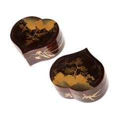 Pair of Japanese Heart Shaped Lacquer Jewelry Boxes, 19th Century