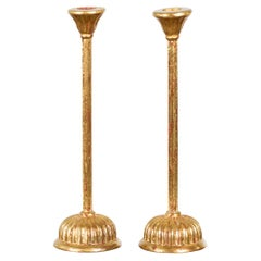 Pair of Japanese Hinamatsuri Gold Lacquered Candleholders with Lotus Bobèches
