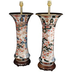 Pair of Japanese Imari 18th Century Antique Table Lamps