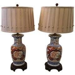 Pair of Japanese Imari Porcelain Lamps
