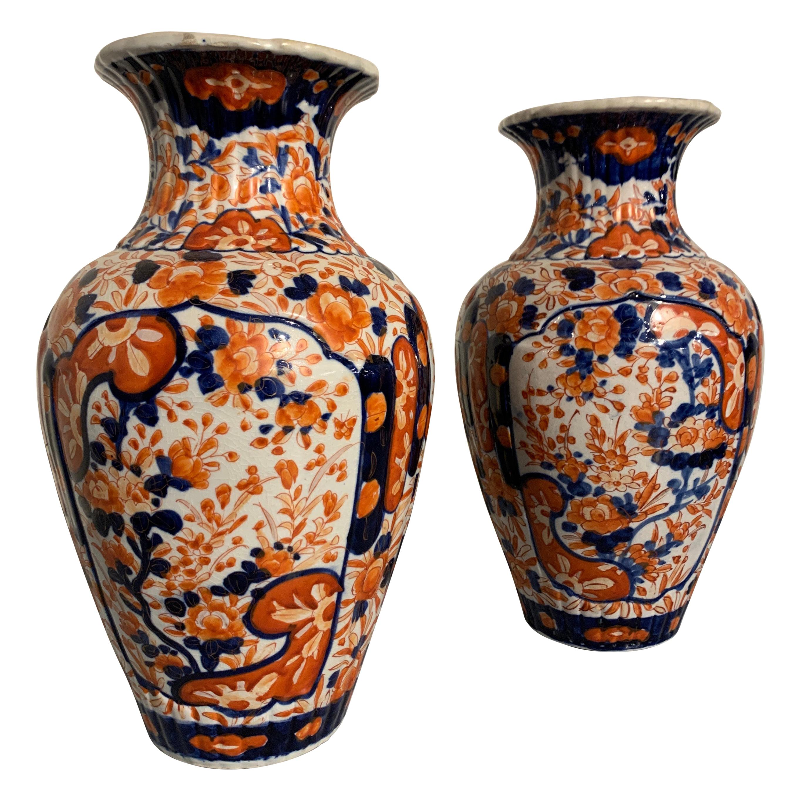 Pair of Japanese Imari Ribbed Vases, Meiji Period, circa 1900