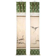 Pair of Japanese Ink Hanging Scrolls Kano Tanyu