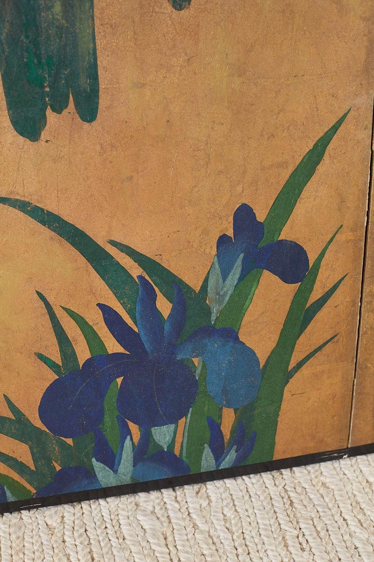 Pair of Japanese Iris Screens on Gilt After Ogata Korin For Sale 3