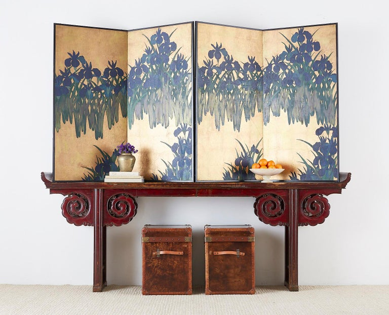 Pair of Japanese Iris Screens on Gilt After Ogata Korin For Sale 4