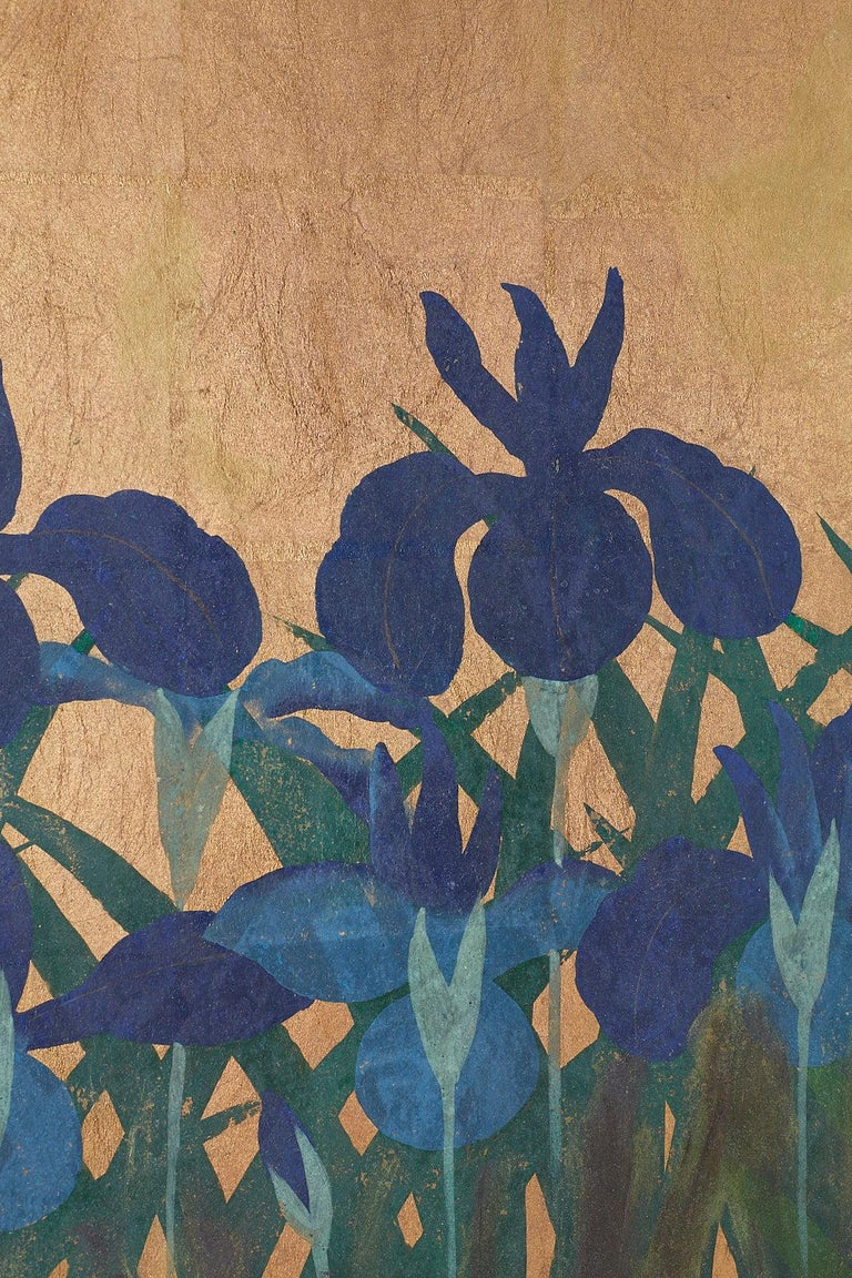 Pair of Japanese Iris Screens on Gilt After Ogata Korin For Sale 5