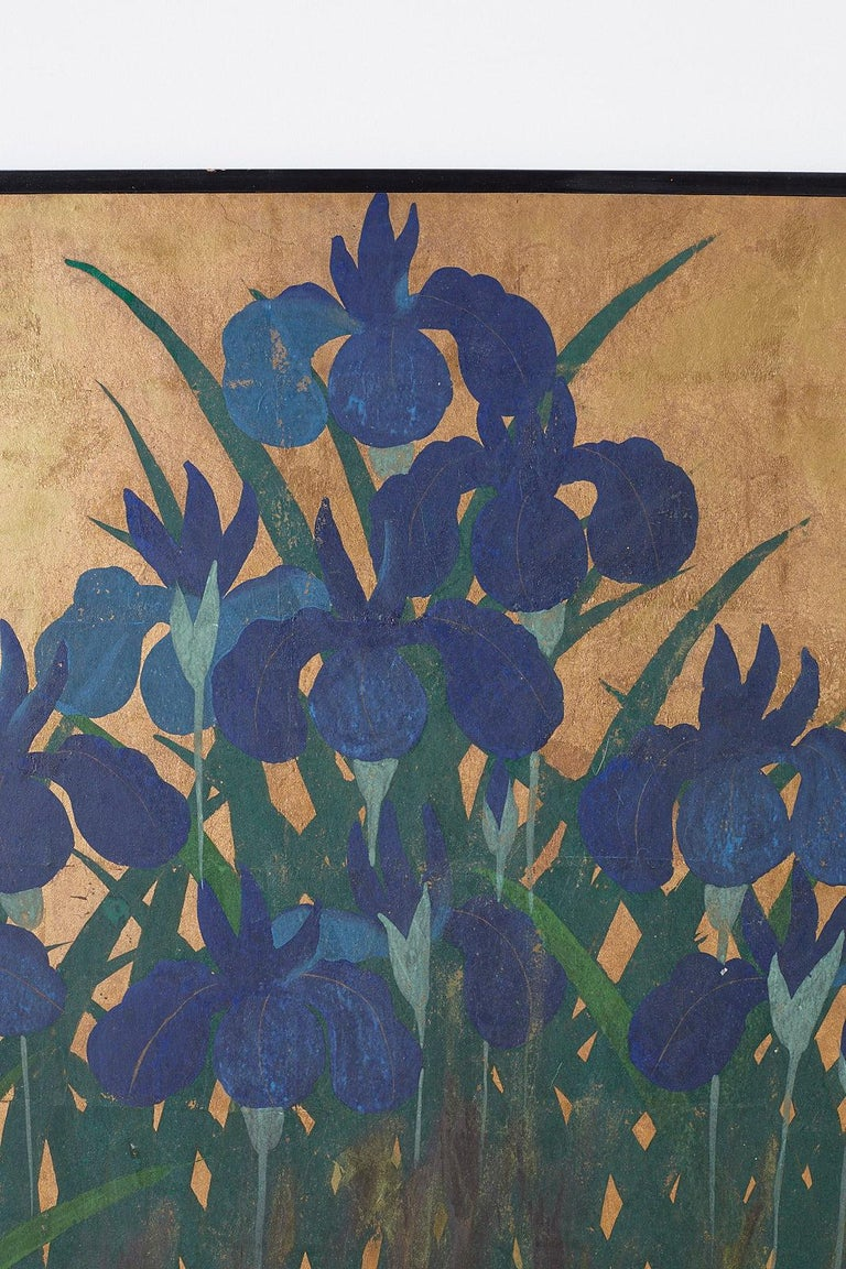 Pair of Japanese Iris Screens on Gilt After Ogata Korin For Sale 6