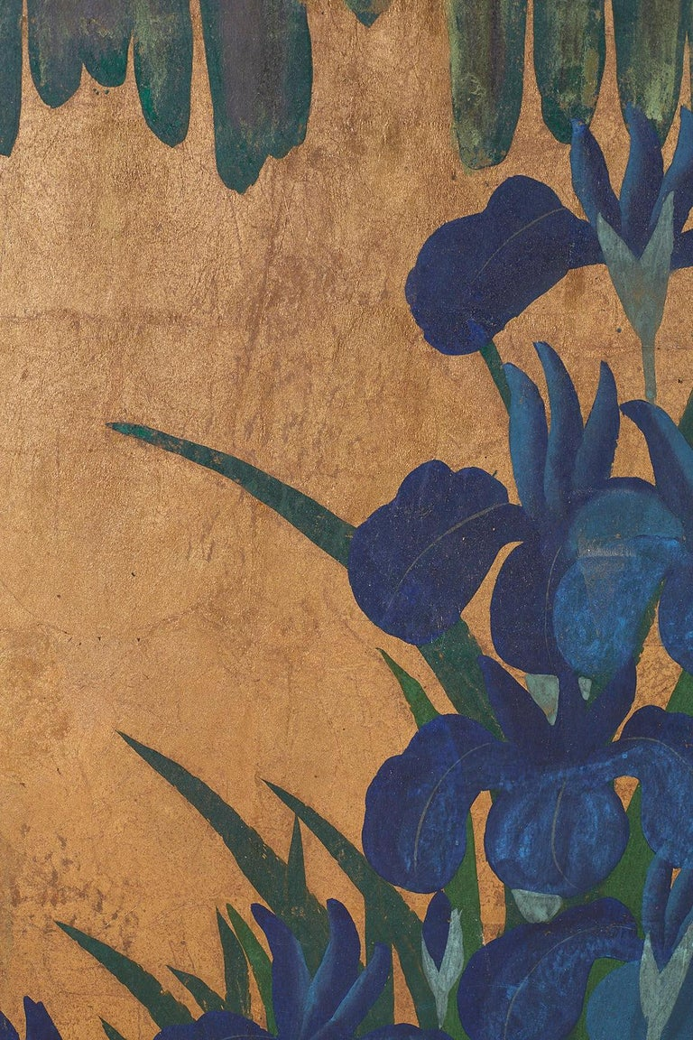 Pair of Japanese Iris Screens on Gilt After Ogata Korin For Sale 7