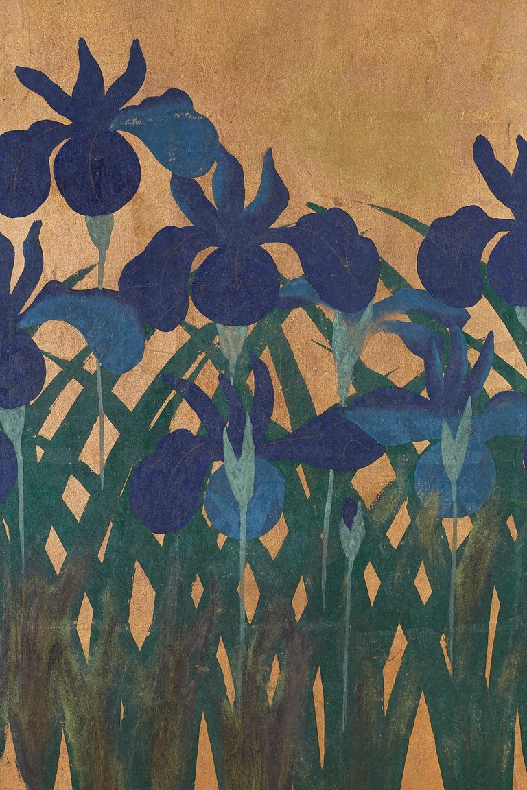 Pair of Japanese Iris Screens on Gilt After Ogata Korin For Sale 8