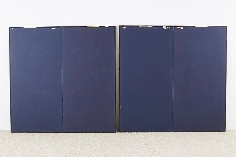 Pair of Japanese Iris Screens on Gilt After Ogata Korin For Sale 9