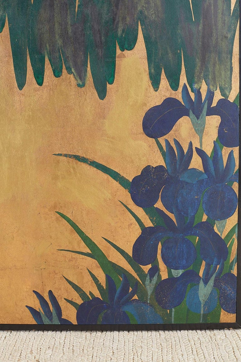 Pair of Japanese Iris Screens on Gilt After Ogata Korin For Sale 10
