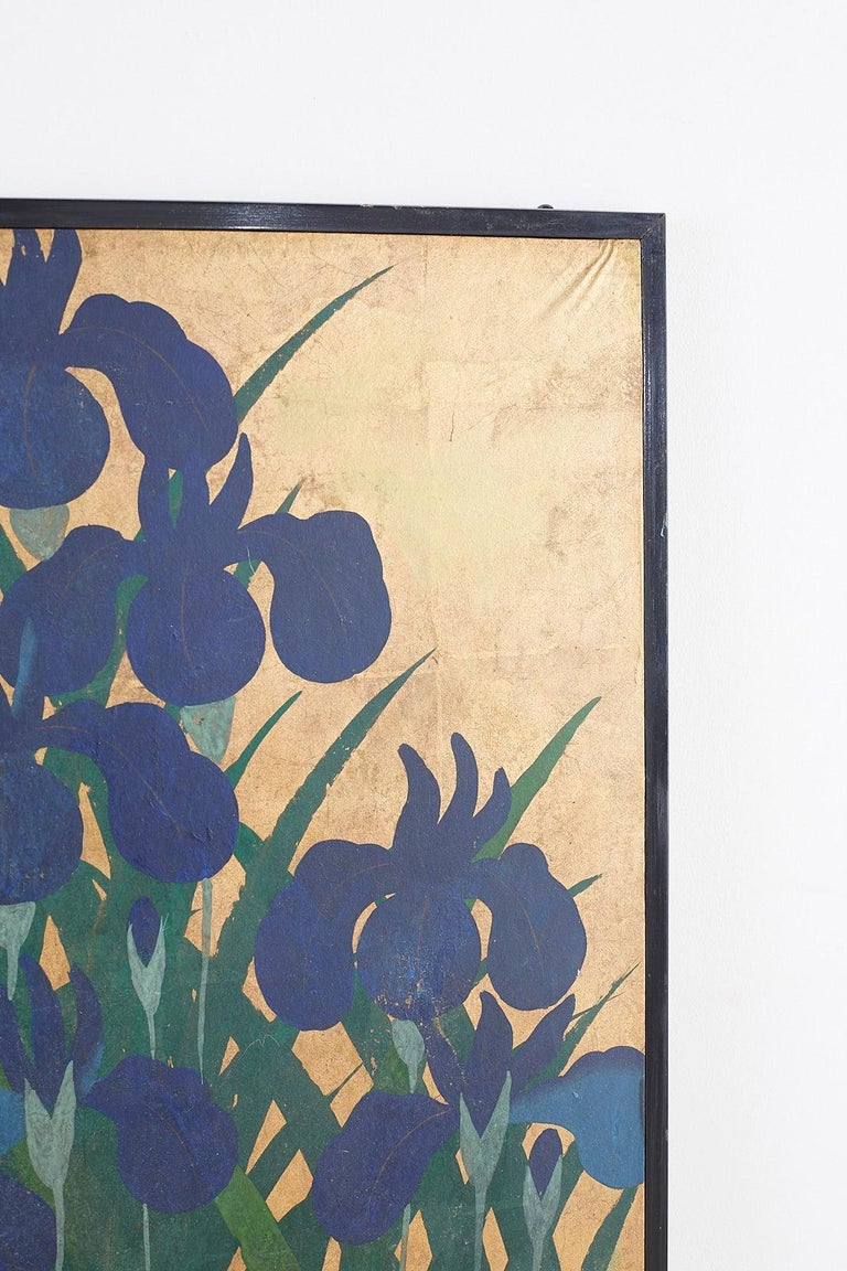 Pair of Japanese Iris Screens on Gilt After Ogata Korin For Sale 11