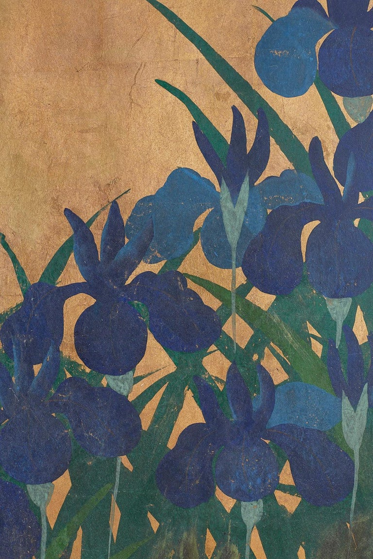 Pair of Japanese Iris Screens on Gilt After Ogata Korin For Sale 12