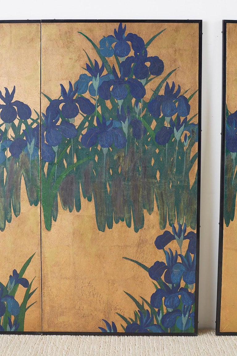 Hand-Crafted Pair of Japanese Iris Screens on Gilt After Ogata Korin For Sale