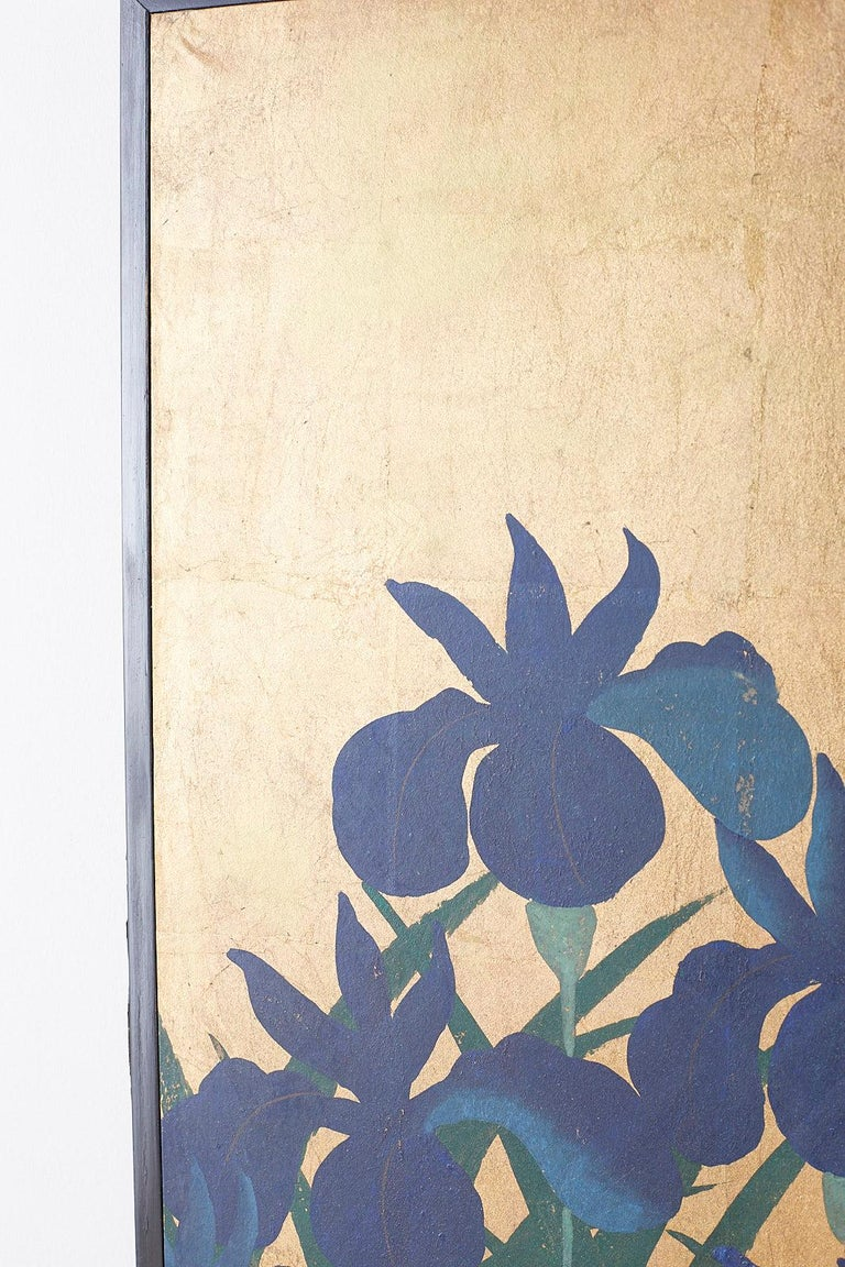 Pair of Japanese Iris Screens on Gilt After Ogata Korin In Good Condition For Sale In Oakland, CA