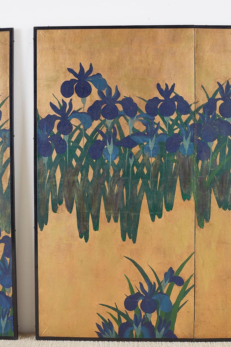 Mid-20th Century Pair of Japanese Iris Screens on Gilt After Ogata Korin For Sale