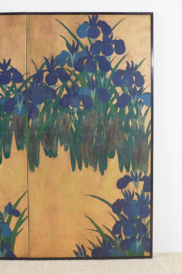 Gold Leaf Pair of Japanese Iris Screens on Gilt After Ogata Korin For Sale
