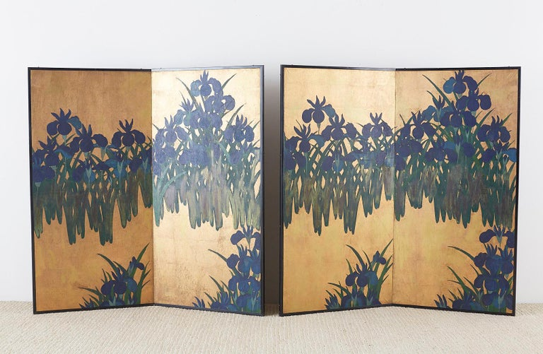 Pair of Japanese Iris Screens on Gilt After Ogata Korin For Sale 1