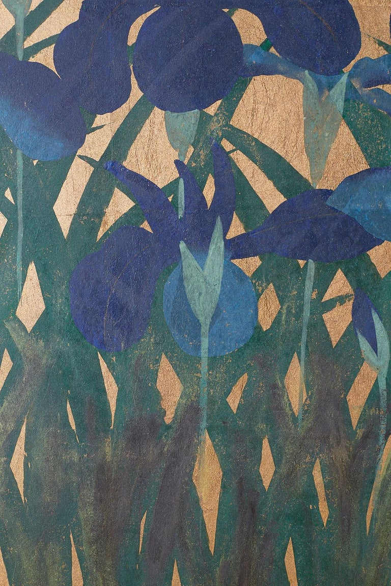 Pair of Japanese Iris Screens on Gilt After Ogata Korin For Sale 2