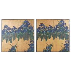Pair of Japanese Iris Screens on Gilt After Ogata Korin