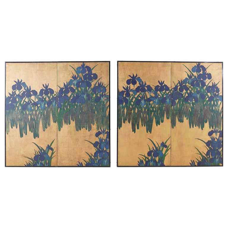 Pair of Japanese Iris Screens on Gilt After Ogata Korin For Sale