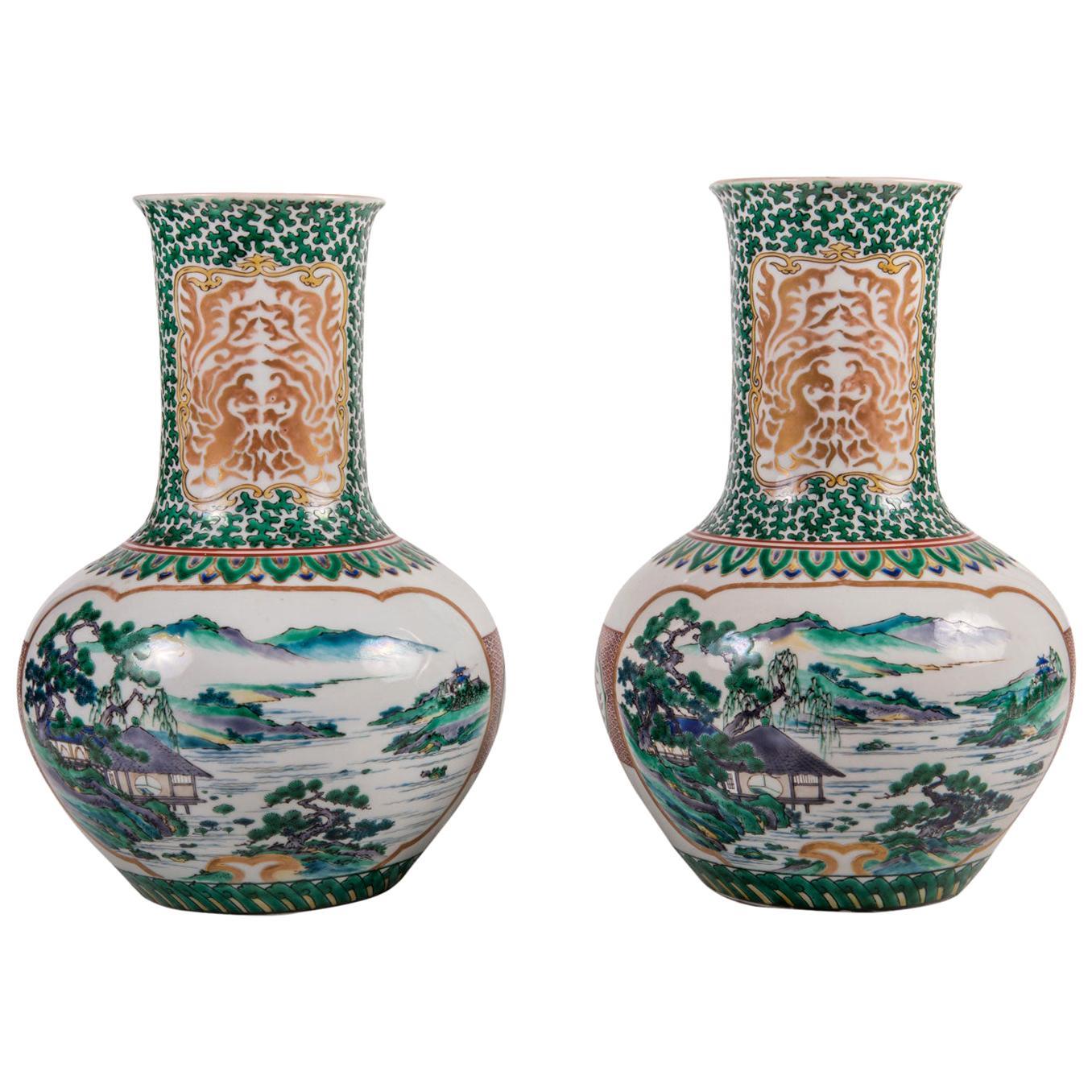 Pair of Japanese Kutani Porcelain Vases, circa 1900