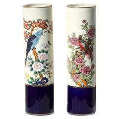 Pair of Japanese Kutani Style Porcelain Cylindrical Vases