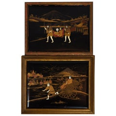 Pair of Japanese Lacquered and Inlaid Plaques