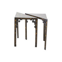 Pair of Japanese Lacquered Triangular Drinks Tables