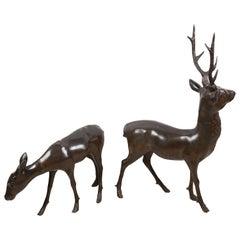 Pair of Japanese Meiji Period Bronze Deer