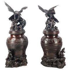 Pair of Japanese Meiji Period Bronze Koros